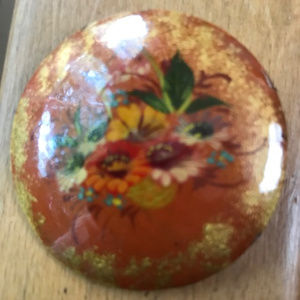 Russian Hand Painted Floral Lacquer Wood Brooch